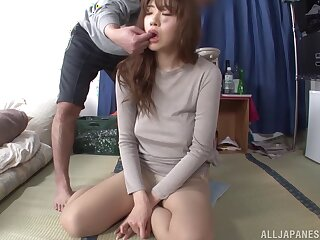 Homemade POV video of redhead Japanese Shinobu Kouno giving a BJ