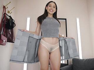 A glass dildo in her butt