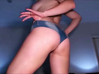 Beautiful peaches babe helter-skelter perfect body dance in blue pants and masturbate at their way home