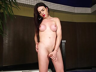 Sexy tranny Leticia Alves is jacking off hard and beamy cock