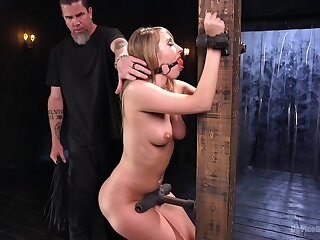 Big ass blonde Harley Jade gets her pussy penetrated during torture