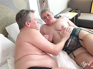 Sensual cock sucking with an increment of trample provided by roasting mature lady