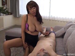 Intense Japanese cam porn shows along to busty wed show in along to cock like a pro