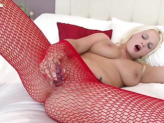 Blonde MILF in red fishnet pantyhose Kelly Imp