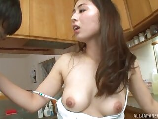Soothing fucking encircling the kitchenette round a shaved pussy Japanese non-specific