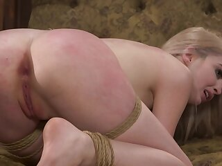 Blonde gets a hard pounding and spanking from the brush master