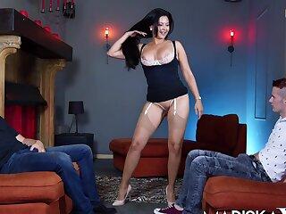 Hot MILF Mariska seduces two  cocks