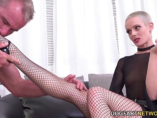 Gagged and tied up cuckold has near watch slutty whore being fucked hard