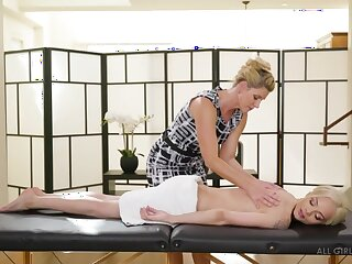 Milf masseuse India Summer licks young pussy of pretty babe Elsa Jean