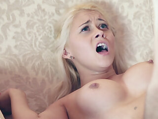 Youthful female compelled to open up her taut vag